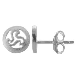 Triskele - Keltisches Zeichen - Silber Ohrstecker plain - mattiert