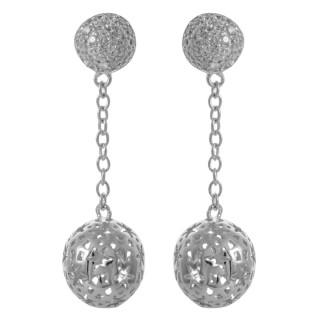 Zet - Silber Ohrringe Zirkonia - poliert