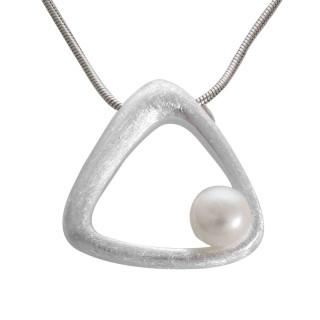 Perlen-Dreieck - Silber Perlenanhänger - gebürstet