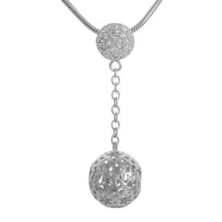 Kugel-Stern - Silber Anhänger Zirkonia - poliert