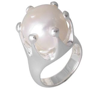 Krone - Silber Perlenring - poliert