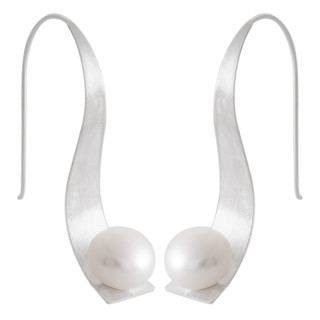 Perlenohrringe-Silber  - mattiert - epp11521