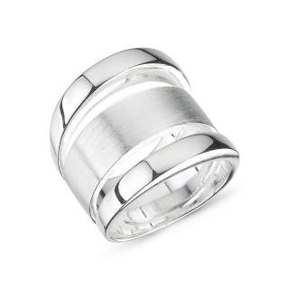 Plain-Silberringe  - mattiert und poliert - rpa17750