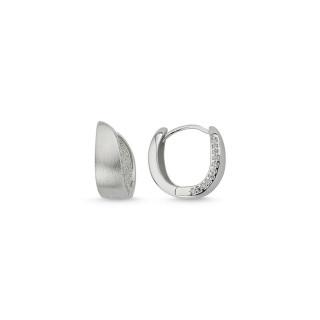 Ohrring  -ECZ14286 - Rhodiniert  mit gefaßten Zirkonia