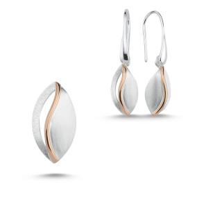 Silber Set plain  -SPA17345 - Gebürstet und bicolor