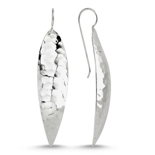 Silberohrringe -E1063-langes Blatt- gehänmmert