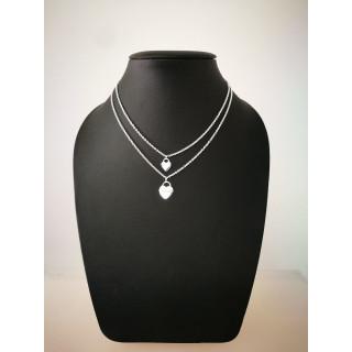 Silberkette - 54100 - Doppel-Herz