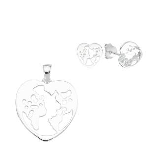 Welt - Herz  Silber Plain Set - poliert - SPA17359