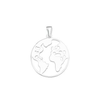 Welt Rund  Silber Plain Anhänger - poliert - PPA16638
