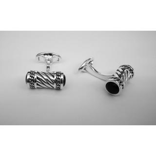 Manschettenknopf  932 Silber - oxidiert - cl777