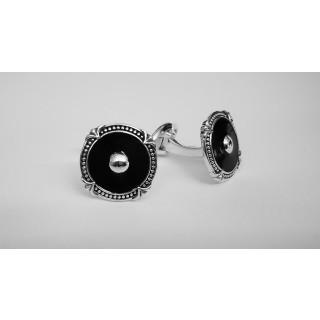 Manschettenknopf  935 Silber - oxidiert - cl781