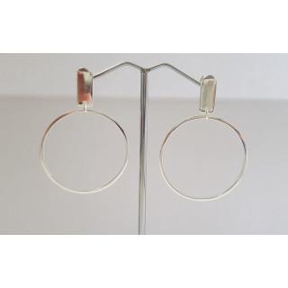 Plain Silberohrring-E2974-poliert