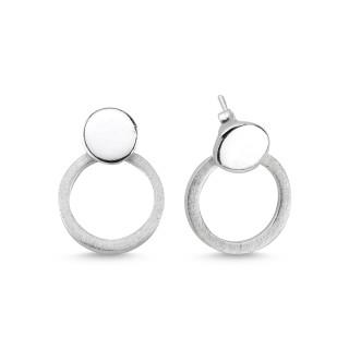 EPA12950 - Silber Ohrringe Kreise plain - gebürstet oder poliert